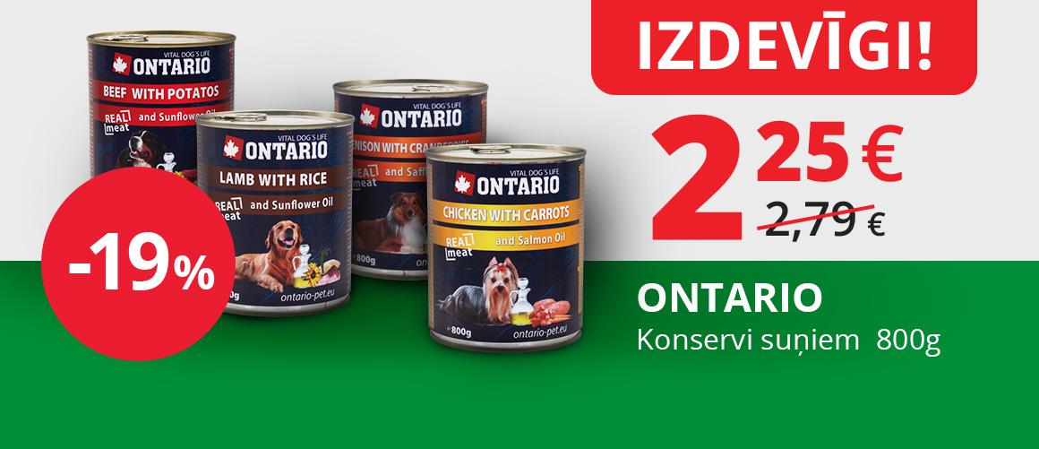ONTARIO konservi suņiem 800g, 2,25€